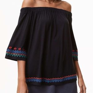 EUC LOFT Border Embroidered Off The Shoulder Top